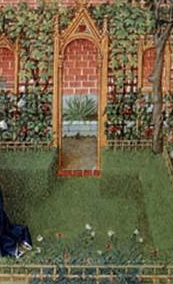 Barthelmy D'eyck, Emilia in her garden, 1465, National Library of Austria.