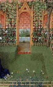 Barthelmy D'eyck, Emilia in her garden, 1465, National Library of Austria.
