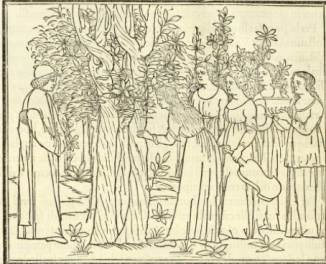 Polyphilo meets the nymphs from Hypnerotomachi Polyphili, 1499 edition