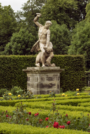 Statue of David slaying Goliath in the Rose Garden at Seaton Delaval Hall