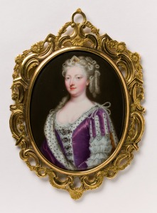Queen Caroline Enamel on copper in gold frame with ivory backing Christian Friedrich Zincke (about 1683-1767) England About 1732, V&A