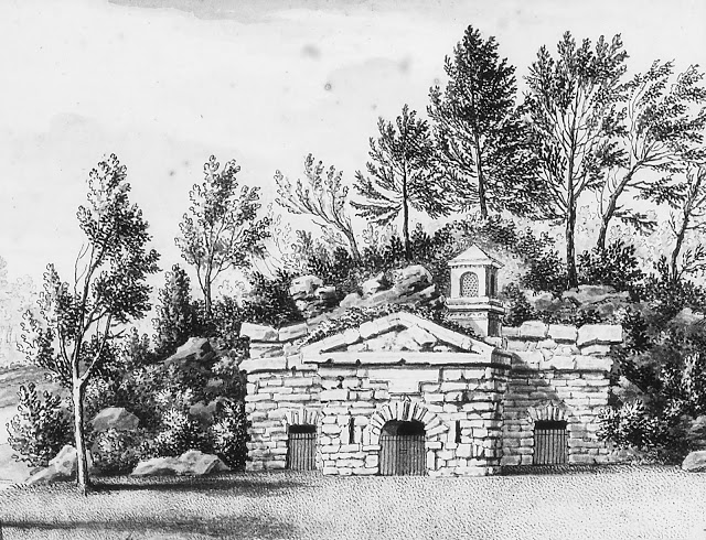 Drawing of Queen Carolines Hermitage in Richmond Gardens by Bernard Lens III (1682 - 1740) c.1735. Royal Collection Trust
