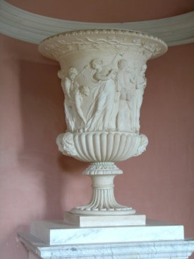 Vase - Coade stone Borghese vase with relief of a Bacchanalian festival, by Daniel Pincot. Stourhead House © National Trust / David Cousins