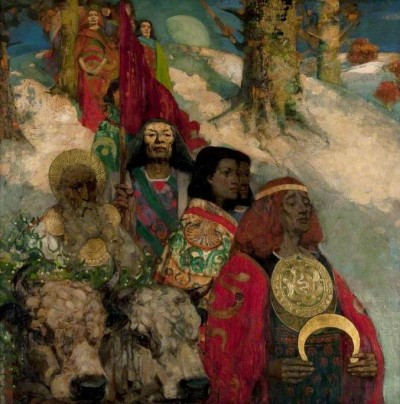 (c) Glasgow Museums; Supplied by The Public The Druids: Bringing in the Mistletoe by George Henry and Edward Atkinson Hornel Glasgow Museums Date painted: 1890 Oil on canvas, 152.4 x 152.4 cm Collection: Glasgow Museums