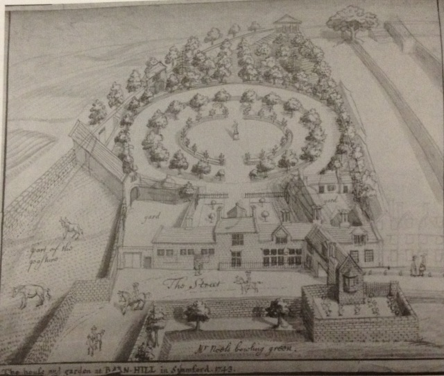Stukeley's drawing of his house and garden at Barn Hill, 1743. Spalding Gentleman's Society