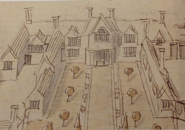 Stukeley's drawing of the garden front at Barn Hill, c.1741-2, Bodleian Library, Gough Maps 16, f.52v b