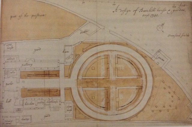 Sutler's plan for his garden at Barn Hill, Stamford, 1741. Bodleian Library, Gough Maps 16, f.52b