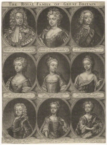 The Royal Family of Great Britain by Unknown artist mezzotint, after 1724by Unknown artist, mezzotint, after 1724