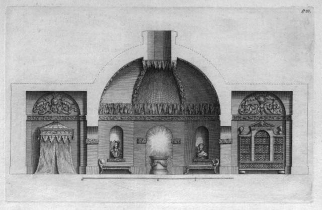 The interior of the Hermitage from Some designs of Mr. Inigo Jones and Mr. Wm. Kent by Jones, Inigo, 1573-1652; Kent, William, 1685-1748; Vardy, John, d. 1765