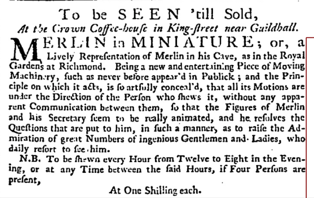 London Daily Post and General Advertiser (London, England), Saturday, May 26, 1739;
