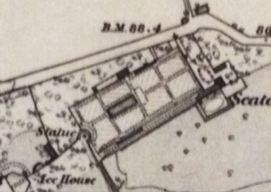 The NW corner oof the grounds and the kitchen garden from the 1865 OS map