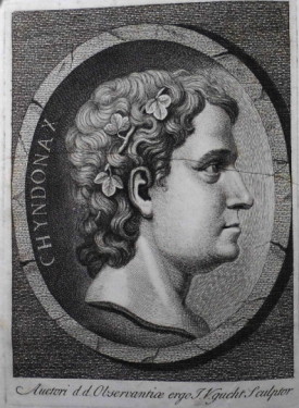Stukeley in his Druidic persona Chyndonax from the frontsipiece of Stonehenge, 1740