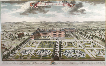 "Kensington Palace south front with its parterres, engraved by Jan Kip, 1724. Jan Kip Kensington Palace from the south by Jan Kip. The plate was made for Britannia Illustrata (1707-8) and dedicated to ""Her most Serene and most Sacred Majesty, Anne"" The plate was reprinted unchanged in 1724."