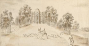 deatil from Architectural drawing of the Temple, or Banqueting House, in the park at Euston Hall, Suffolk, ca. 1746, by William Kent (1685-1748), V&A