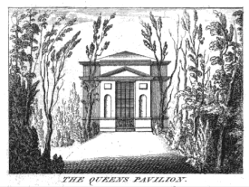 The Queen's Pavilion at Richmond from Rocque's View of the Gardens