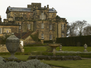Looking over the garden towards the west front of the central block at Seaton Delaval Hall. Not Used CL 07/04/2010
