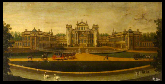 Seaton Delaval Hall – the North (Entrance) Front by John Joseph Bouttats c.1750 https://landscapelover.wordpress.com/2014/06/24/preserving-seaton-delaval-hall/