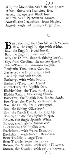 from Furber's Catalogue of English and Foreign Trees, 1728