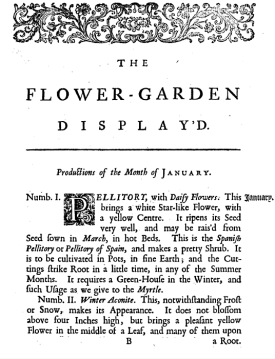 a page showing the notes that accompanied the plates in The Flower Garden Display'd