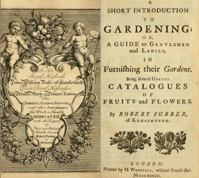 The beginning of the subscription list in A short Introduction to gardening, 1733