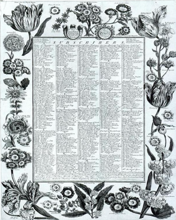 The subscribers list, taken from Bourgeois and Aristocratic Cultural Encounters in Garden Art, 1550-1850 By Michel Conan, Dumbarton Oaks