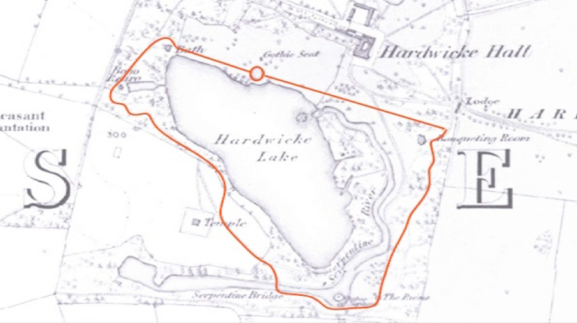 detail from the 1856 Ordnance Survey , and with the circuit walk shown in red