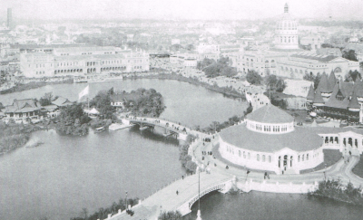 view of the Ho-o-den on Wooded Island at the 1893 Chicago World's Fair. (Dream City: A Portfolio of Photographic Views of the World's Columbian Exposition)