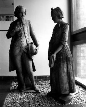 Two children in 18th century charity school uniforms. St John's Church of England Primary School, Leicester http://www.pmsa.org.uk/pmsa-database/2149/