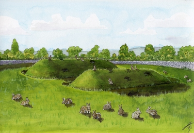 Reconstruction of Medieval 'pillow mounds' in a rabbit warren, within Radholme or Leagram Deer Park in the Forest of Bowland, Lancashire, in about 1500 by Jeannie Anderson http://www.jennieanderson.co.uk/page3.htm