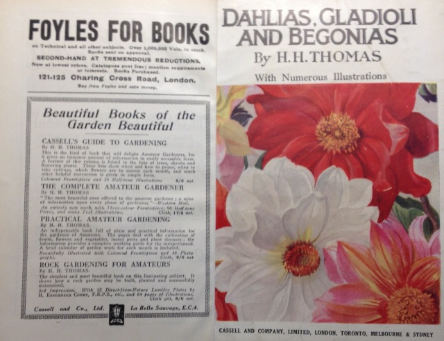 The front cover and inside leaf flier from dahlias, Gladioli and Begonias, 191x