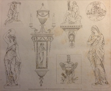 Various designs by John Bacon from Etchings of Coade's Artificial Stone Manufacture Narrow Wall Lambeth near Westminster Bridge, BL