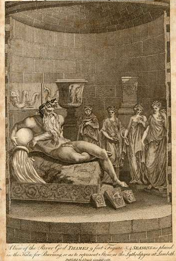 The interior of the Coade kiln with the River God and the Four SEasons ready to be fired. 1784, and reprinted in the European Magazine, 1802