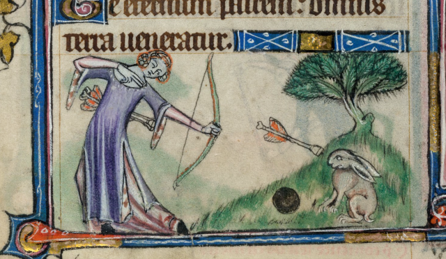 Detail of a bas-de-page scene of a lady shooting an arrow at a rabbit., from The taymouth Hours, f.68v, British Library