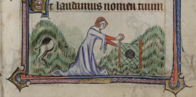 scene of a lady sending a hound into a rabbit warren in order to flush out rabbits.  The Yamouth Hours,f.70v, British Librray