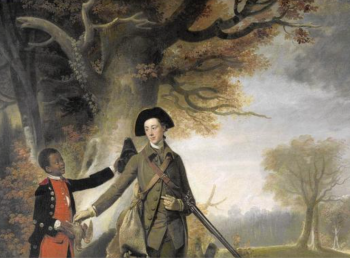 detail from Unknown artist, an Unknown Man, perhaps Charles Goring of Wiston (1744), out Shooting with his Servant, ca. 1765, oil on canvas, Yale Center for British Art, Paul Mellon Collection (Richard Caspole, Yale Center for British Art)