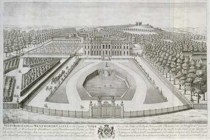 Stainborough and Wentworth Castle [i.e. Stainborough Hall], Yorks (W.R.): bird's-eye view of entrance front, from T. Badeslade & J. Rocque's 'Vitruvius Brittanicus, volume the fourth', London 1739
