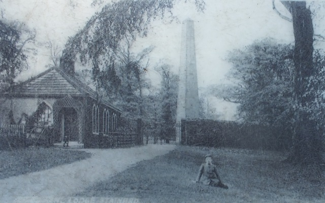 The Queen Anne Monument, photo early 1900s from one of the noticeboards in the grounds