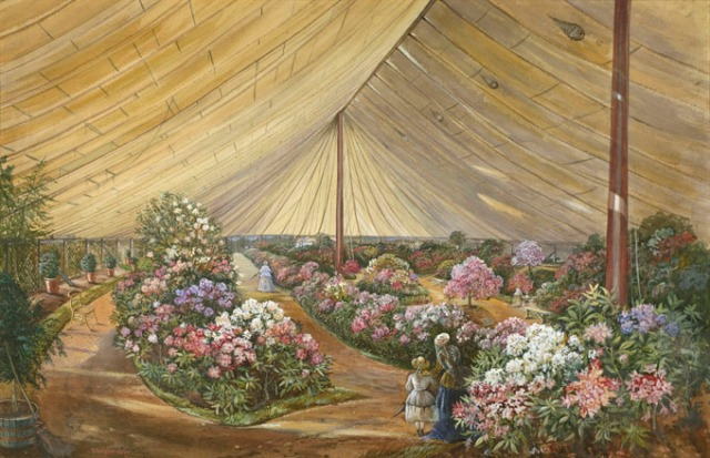 Painting of a scene at a flower show marquee signed, 'A Bright, 1866'. Research suggests that this painting could depict a scene at the 1866 Great International Horticultural Exhibition. The exhibition was held under canvas on the site of the Great Exhibition in Kensington adjacent to the Royal Horticultural Society garden. Proceeds from the exhibition were used by the society to purchase the Lindley Library.