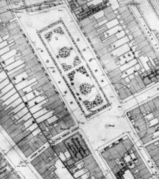 detail from the 1875 OS map showing the planting pattern in the square