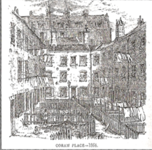 Little Coram Place, one of the 'better' courtyards off Little Coram Street, from Rev. Samuel Hadden Parkes, Window Gardens for the People, 1864