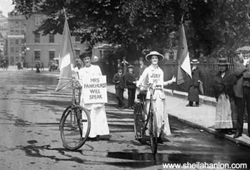 Suffragettes cycling through Bloomsbury, image from www.sheilahanlon.com