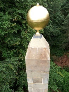 The restored golden globe on top off the Sun Monument. www.wentworthcastle.org