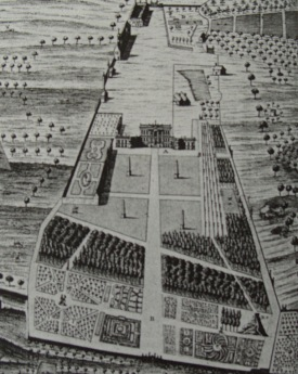 Engraving of the west front by John Cole c.1728 (Bodleian Library)
