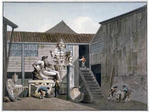 Coade Stone factory yard on Narrow Wall Street, Lambeth, London, c1800.