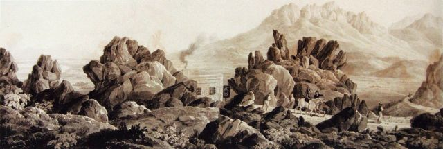 English: Summit of Sir Lowry's Pass near Cape Town - Toll-keeper's house - Pen and wash drawing Date1832 Source Collection Cape Archives, Cape Town Author Sir Charles D'Oyly, 7th Baronet (1781–1845)