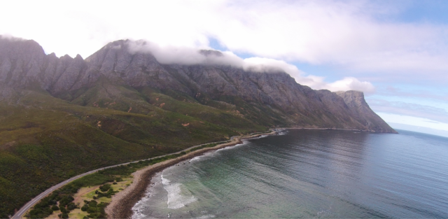 Vogel Bay, with a small part of the Kogelberg range in the background. Image by Aerial Picture and Video. licensed under the Creative Commons Attribution-Share Alike 4.0 International license.