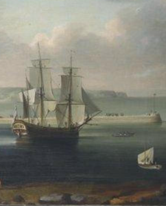 Detail from the Endeavour at Whitby by Thomas KLunes, c1790