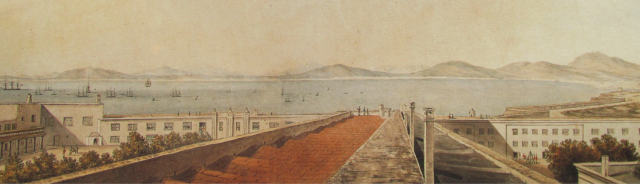 detail from a panorama of Cape Town by Lady Anne Barnard, c 18xx