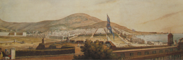 detail from a panorama of Cape Town by Lady Anne Barnard, c 1798 from https://clingham.blogs.bucknell.edu/author/clingham/