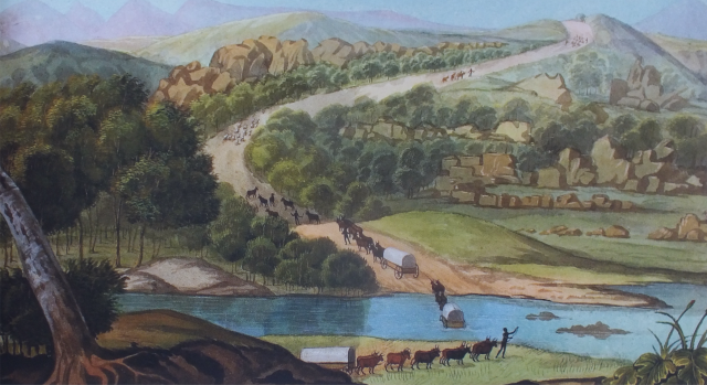 Crossing the Swartskopf river, F.Le Vaillant , c.1798 National Library of South Africa